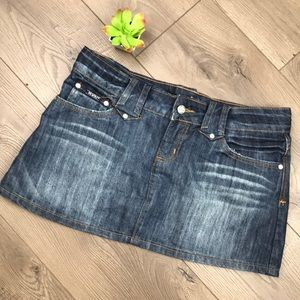 REVOLT Dark Wash Wide Belt Loop Jean Mini Skirt